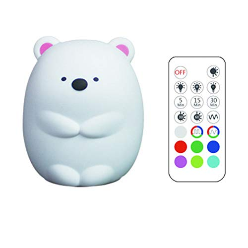 Créatif Dull Bear Coloré Couleur Silicone Night Light USB Charge Cartoon Cartoon LED Night Light Télécommande Télécommande Pat Light (edition : Remote control version)