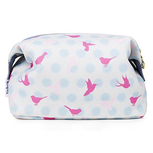 TaylorHe Make-up Bag neceser de belleza, Bolsas de aseo, Neceseres para maquillaje, estuche de lápices lunares, pájaros, rosa