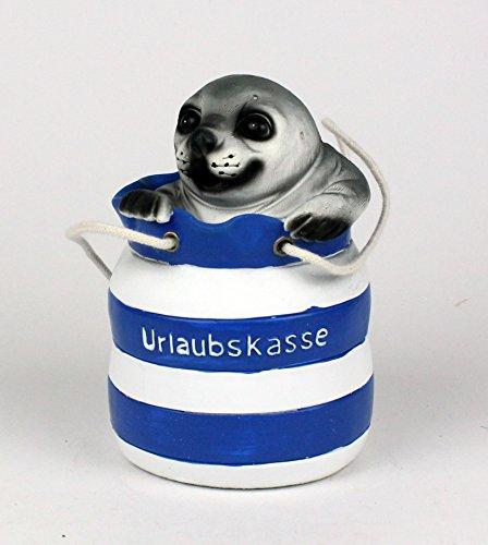 Seehund im Seesack Urlaubskasse Spardose Spartopf Deko blau/weiß 12 cm maritim