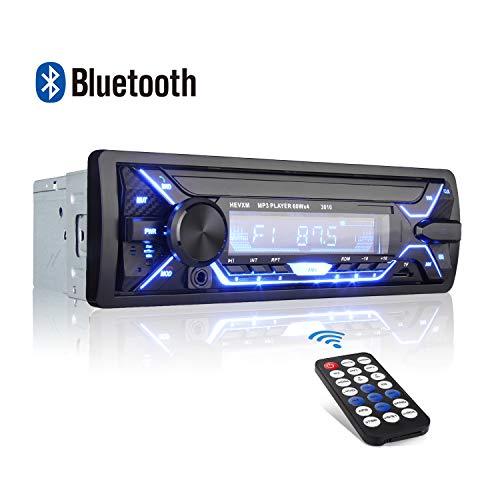QINFOX Universal Autoradio FM Bluetooth,4* 60W* MP3 Stereo Per Auto con Porte USB/Micro SD Ingresso AUX Telecomando Microfono Incorporato, Manuale in Lingua Italiana in PDF,con 7 Colori LCD Autoradio