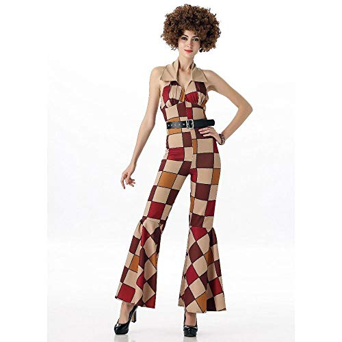 NiQiShangMao 70er Jahre Herren Disco Sleaze Ball Kostüm Damen Boogie Babe Kostüme für Paar Halloween Party Karneval Fantasie - Boogie Mädchen Kostüm