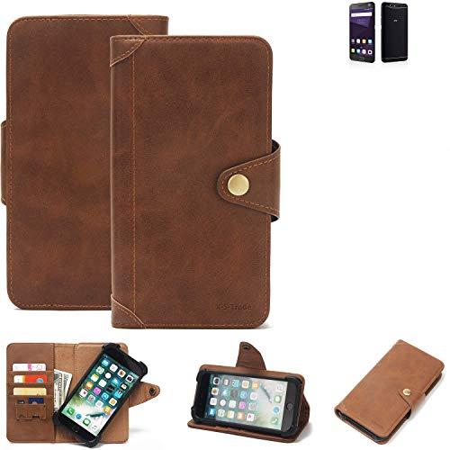 K-S-Trade® Handy Hülle Für ZTE Blade V8 64 GB Schutzhülle Walletcase Bookstyle Tasche Handyhülle Schutz Case Handytasche Wallet Flipcase Cover PU Braun (1x)