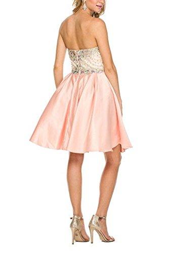 Bridal_Mall -  Vestito  - linea ad a - Senza maniche  - Donna Pearl Pink