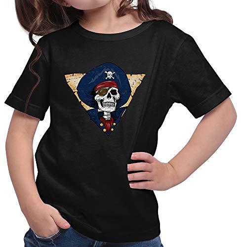 HARIZ  Mädchen T-Shirt Pirat Skelett Schatzkiste Halloween Kostüm Verkleidung Karneval Inkl. Geschenk Karte Schwarz 128/7-8 ()