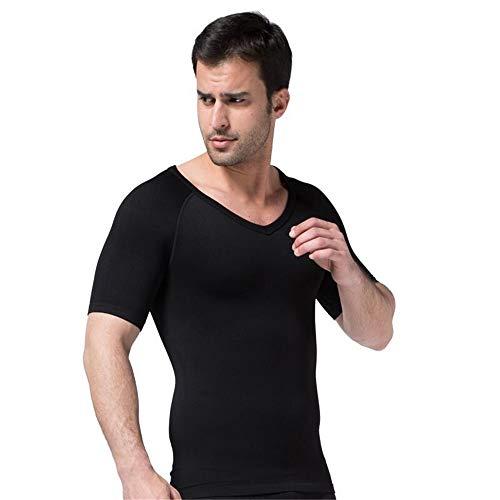 Sodacoda Herren Figurformendes Kompressions Unterhemd - Bauch-Weg T-Shirt V Neck (Schwarz, L)