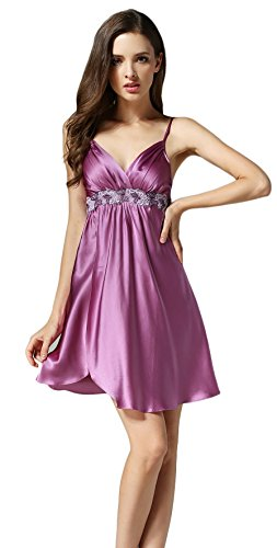 Tulpen Damen 100% Seide Schlafkleider Spaghetti Strap Blumen Schlafanzug Violett