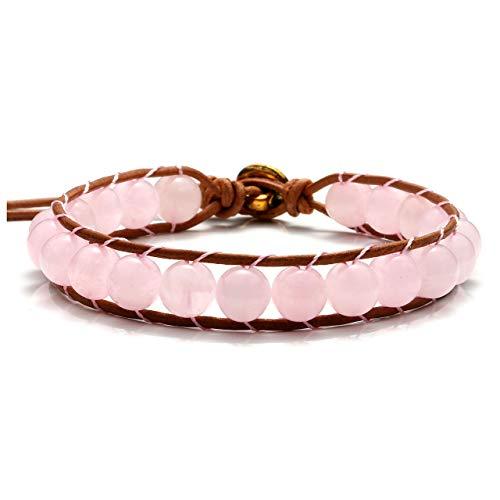 Crystaltears bracciale con pietre preziose e perle per terapia energetica, yoga, reiki, braccialetto intrecciato con simbolo om e rame, colore: quarzo rosa, cod. fpde02590