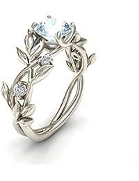 LUOEM Anillo de Compromiso con Diamante Forma de Hoja de Aleación para Amantes Mujeres Reglo Ideal