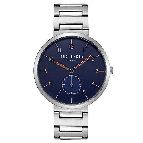 Ted Baker pour homme Mans en acier inoxydable montre sur bracelet avec cadran bleu Josh Te50011009