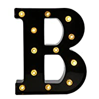 Your Name in Lights - Illuminated Vintage Style Decorative Letter Lights, Up in Lights LED Alphabet A-Z Marquee Night Light Wall Mounted Decoration B(Black)