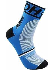 Tolooggo Calcetines de Deporte Ciclismo Calcetines Compresión Bicicletas Hombre Mujer,Azul