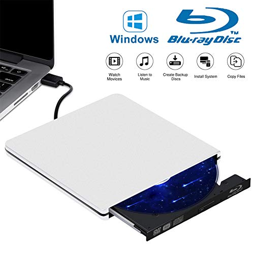 Tokenhigh Lecteur Graveur DVD Externe Blu Ray 4K 3D, Portable Graveur de DVD CD, USB 3.0 DVD Mince et Ultra-Rapide Graveur de DVD CD-RW pour Mac OS, PC Windows XP/Vista / 7/8/10