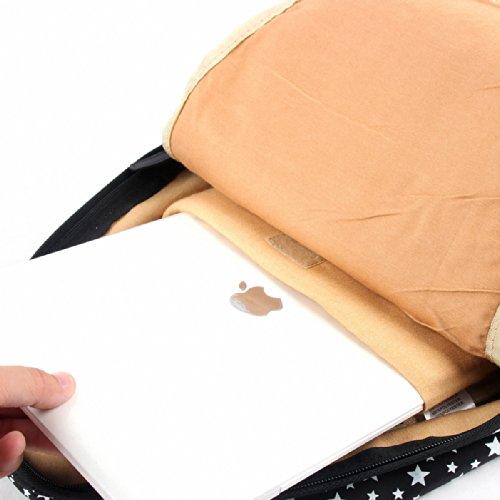 """Artone Stelle Pu Casual Zaino Grande Capacità Scuola Daypack Fit 15"""" Laptop Blu Nero"""
