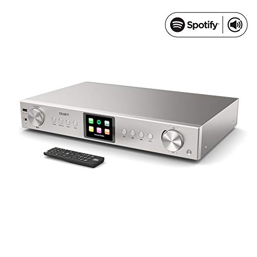 Majority Fitzwilliam Hi-FI Tuner - WiFi Internet Radio - Radio numérique Dab/Dab+ - FM Radio - Spotify Connect - Bluetooth - Télécommande - USB MP3 et AUX - Optique, coaxial et Sortie Ligne (Argent)