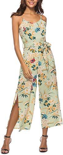 Damen Floral Backless Overall Strappy Sleeveless Split V-Ausschnitt Casual Gürtel Overall Sommer Lange Hosen Strampler Grün S -