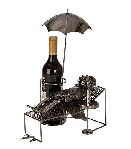 Extravaganter Wein Flaschenhalter Urlauber aus Metall Höhe 39 cm Länge 30 cm