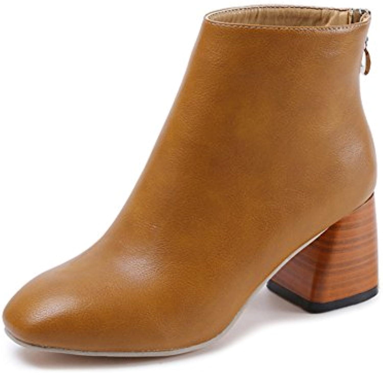 b45666d7330 juqilu Ankle Boots For Women Ladies Fleece Lined Warm Shoes Shoes Shoes  Comfortable Block Heel Zipper