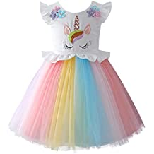 6faa8ca721c39a IBTOM CASTLE Costume da Unicorno Arcobaleno Vestito Elegante da Fiore  Ragazza Tutu Floreale Principessa Festa Cerimonia