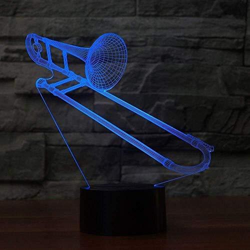 3D Nachtlicht 3D Visuelle Led Farbwechsel Posaune Form Nachtlicht USB Tischlampe Schlaf Beleuchtung Musikinstrument Leuchten Kinder Spielzeug Geschenke Raumdekor Geschenk