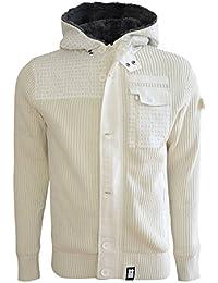 Mens Hoodie Crosshatch Wharf Knitted Cardigan Hoody Zip Up Jacket