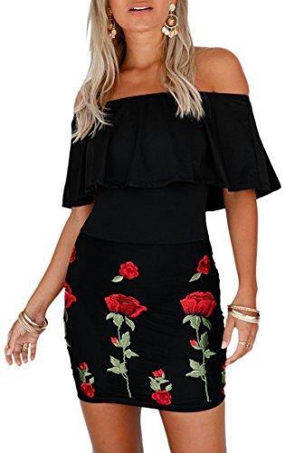 Vestitino donna abito corto con ricamo vestito elegante sera miniabito scollato Nero