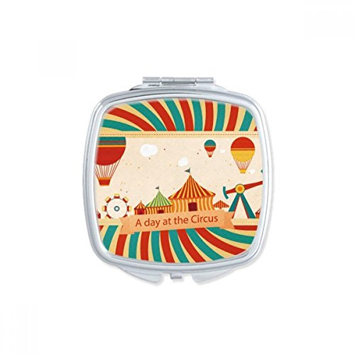 DIYthinker Parc d'attractions Couleur Carousel Illustration Coeur Miroir de Maquillage Compact Portable Cute Cadeau Miroirs de Poche à la Main Multicolor