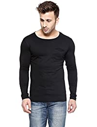 New Trendy Gespo Men'S Cotton Round Neck Full Sleeves Tshirt (Black,L)