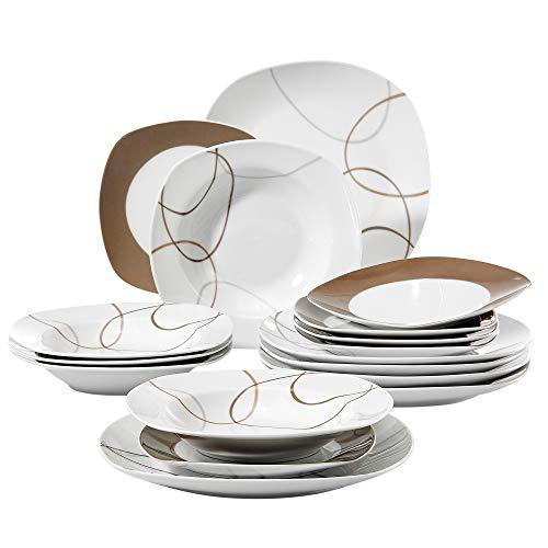 VEWEET Service de Table Nikita 18 pièces en Porcelaine Blanc et Gris Ligne carré de Table Lot de 15,2 x 24,8 cm Assiette 15,2 x 19,1 cm Assiette à Dessert 15,2 x 21,6 cm Assiette Creuse
