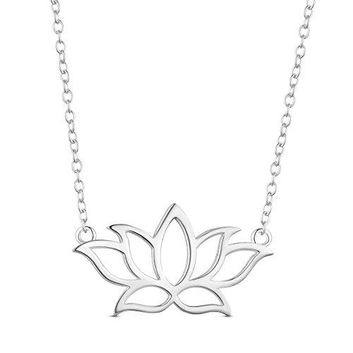 SHEGRACE 925 Sterling Silber Halskette mit Lotus Anhänger Blume 400 mm Geschenk für Mädchen, Mutter, Freundin, Frau - Tragen Sie Augen-palette