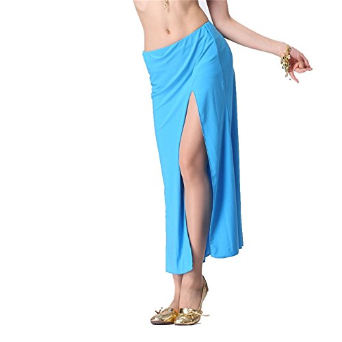 Damen Tanzkleidung Long Bauchtanz Rock Tribal Side Slit Tanzen Kost¨¹me Maxi Rock Apparel Light Blue