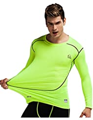 Jimmy Design Men 's Long Sleeve Compression Shirt Sports Top, verde - Pro-Green, S