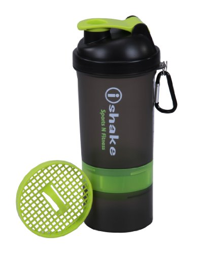 Ishake Smart 2 Storage Shaker Bottle 500 ml , (Soot Body, Green Lid)  available at amazon for Rs.294