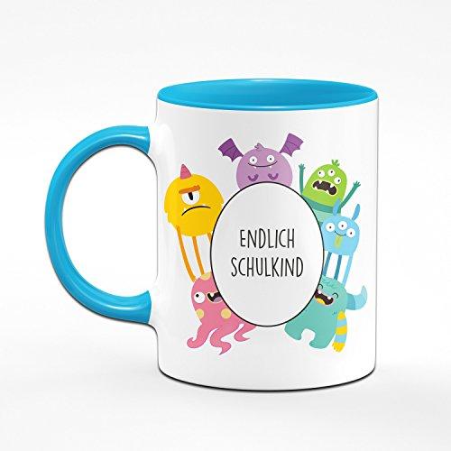 Tasse Zum Schulanfang - Endlich Schulkind - Tasse mit Monster - Geschenk zur Einschulung für die Schultüte - Geschenke Zum Schulanfang - Mehrere Farben wählbar (Hellblau) - 2