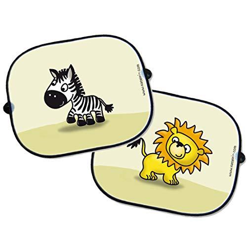 katelein Auto Sonnenschutz Baby Set 2 Stück - Löwe und Zebra - lustige Tier Motive - Sonnenblende Schattenspender für Seitenscheibe Seitenfenster Kinder