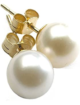 Perlen-Ohrringe im Set, 9 mm groß, vergoldet (9 Karat), mit komfortablen Butterfly-Verschlüssen, Weiß