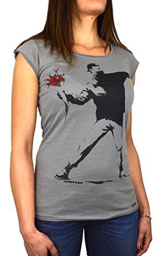 Faces | Banksy Flower Thrower 2 | T-Shirt Damen Made in Italy | Manueller Siebdruck (L Damen) -