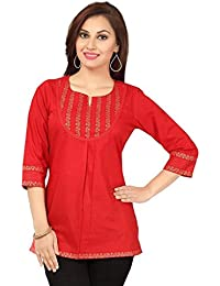 SATRAT Women's Short Length Cotton Round Neck 3/4th Sleeves Kurti (Red)