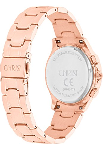 CHRIST times Damen-Armbanduhr Analog Quarz One Size, blau, rosé/blau -