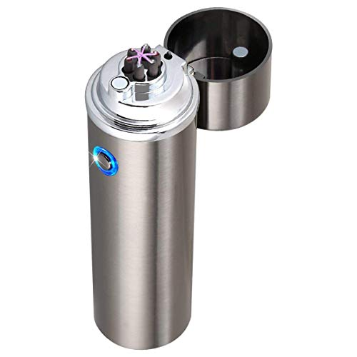 Atomic Lighter Electric Lighter USB Rechargeable Flameless Windproof Electronic Pulse Dual Arc Cigarette Pipe Cigar Lighter (Grigio)