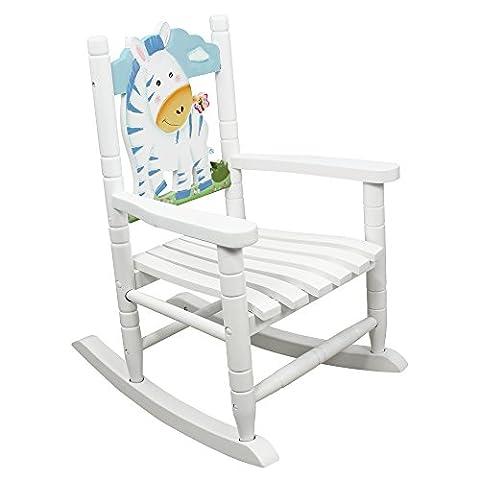 Teamson Kids Childrens Zebra Jungle Rocking Chair Wooden Rocker Seat Nursery Furniture Toy W-8340A