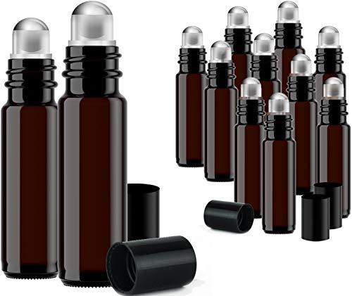 Tägliche Uv-flüssigkeit (Roller Bottles for Essential Oils 12 Pack 10 ml Glass Tall Roll On Refillable Empty Amber Bottles with Stainless Steel Roller Ball Cap Bulk DIY Perfume Aromatherapy Bulk Essentials)