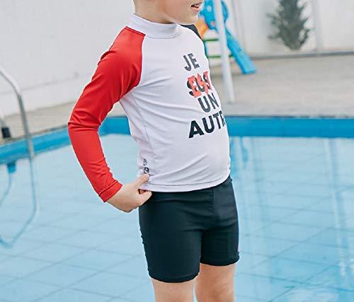 DOOUYTERT Klassisch Kinder Langarm Split Badeanzüge Kinder Buchstaben Druck Neoprenanzug für Wassersport Jungen (Schwarz und Weiß) (Farbe : Black White, Größe : 110cm)