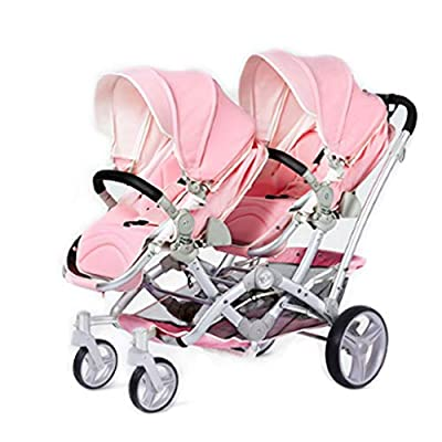 Xiao ping One-button Folding Twin Stroller Can Sit On Reclining Double Children's Trolley ( Color : 2 )