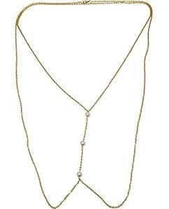 TOWN OF TRINKETS 10mm 3 simulted Pearls Cross over Body Bikini Waist Link Chain
