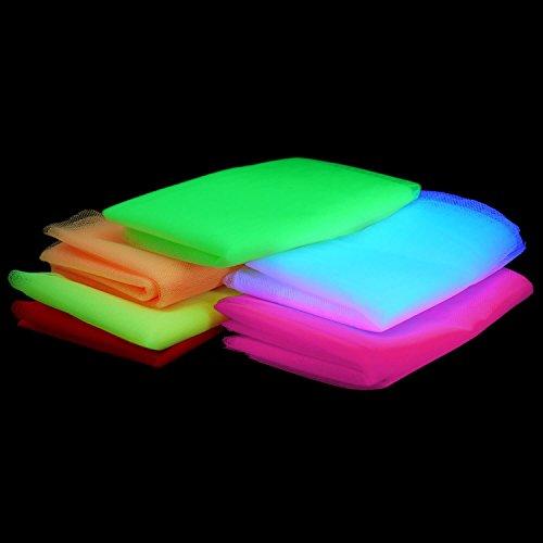 Tulle Fluo UV - Ensemble de 6 Couleurs - Décoration pour soirée sous Lumières Noires - Réagit sous les UV