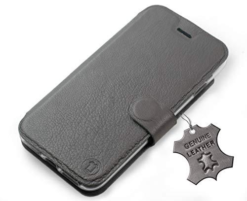 MOBIWEAR Echt Leder Leather Book Style Handy Motiv Tasche Flip Case Cover Hülle für HTC Desire 650 - Grey Leather
