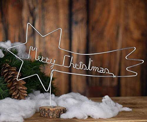 """Stella Cometa Natalizia,realizzata interamente a mano in alluminio,con scritta""""Merry Christmas"""" e base in legno.Leggera,dimensione 27x16 cm"""