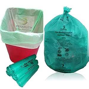 PRAKRUTIK Garbage Bags Biodegradable For Kitchen,Office,Medium Size (Green,48cmx56cm,180 Bag)