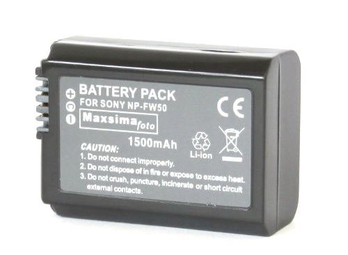 Maxsimafoto - NP-FW50, FW50, NPFW50, Compatible Camera Camcorder Battery Pack, 1500mAh , for Sony NEX-3, NEX3, NEX-5, NEX5, a33, a55.
