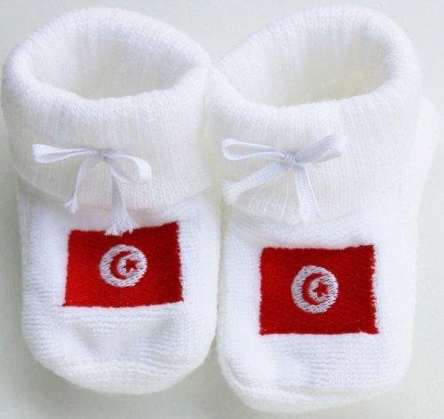 Chaussons bébé brodés drapeau de la Tunisie Happy baby blanc 0/3mois